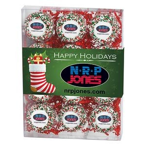 Chocolate Covered Printed Oreo� Gift Box - Holiday Nonpareil Sprinkles/Printed Cookie (12 pack)