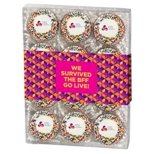 Chocolate Covered Printed Oreo� Gift Box - Rainbow Nonpareil Sprinkles/Printed Cookie (12 pack)