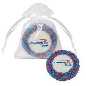 Custom Chocolate Covered Oreo� Organza Bag - Corporate Color Nonpareil Sprinkles